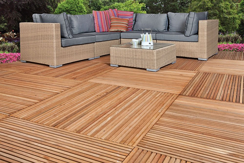 Yogyakarta hardwood garden decking tile for Garden decking squares