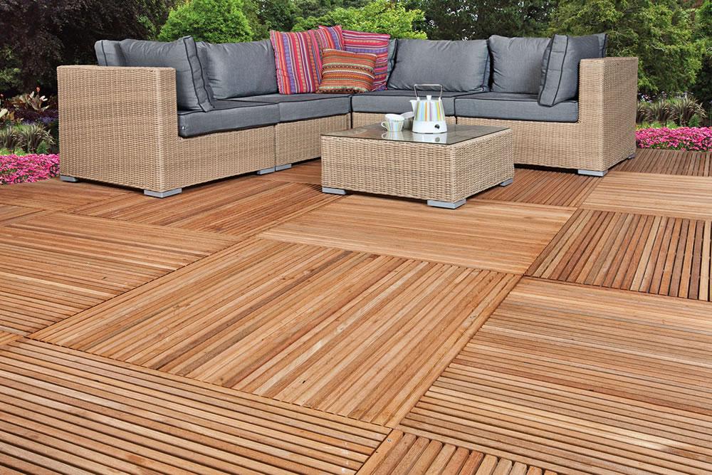 Yogyakarta hardwood garden decking tile for Garden decking quotes uk