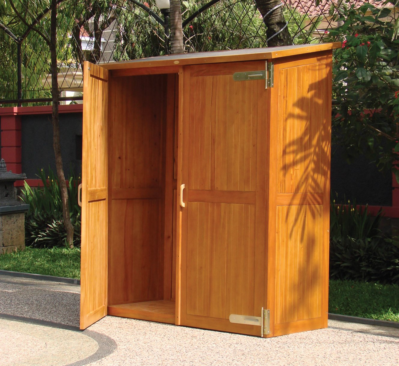 hardwood garden storage cabinet. Black Bedroom Furniture Sets. Home Design Ideas