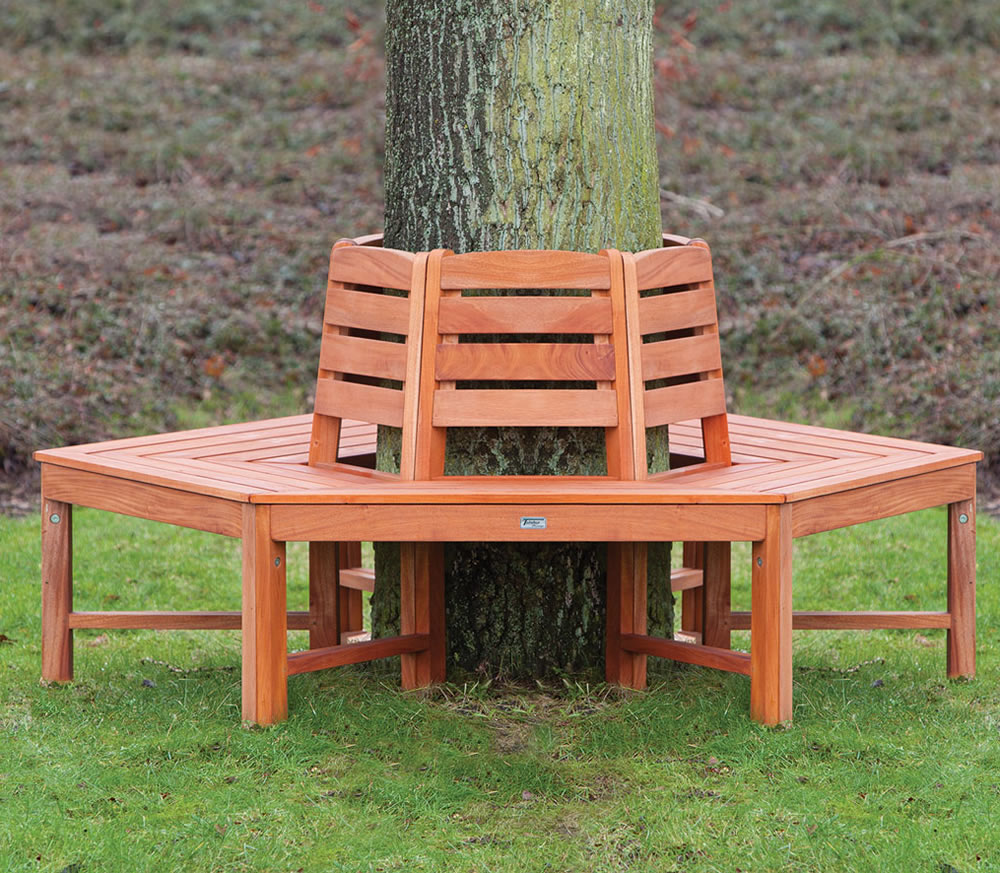 Hardwood tree bench
