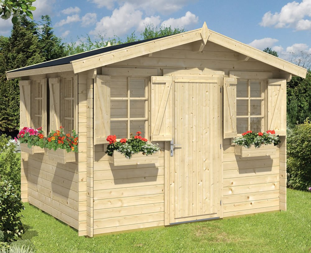 Idonea log cabin with shutters and window boxes in 28mm logs