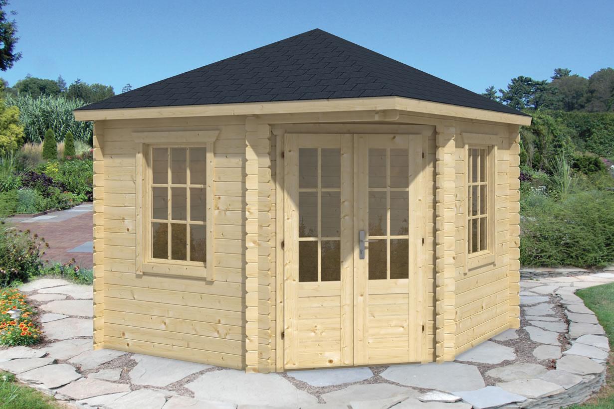 ingrid corner log cabin summerhouse 3x3m. Black Bedroom Furniture Sets. Home Design Ideas