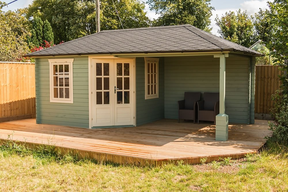 Jannie log cabin and porch area. Our customer has customised the supporting post