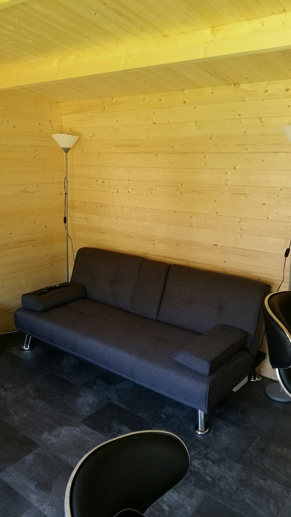 Our customer slate floor in the Jenny log cabin