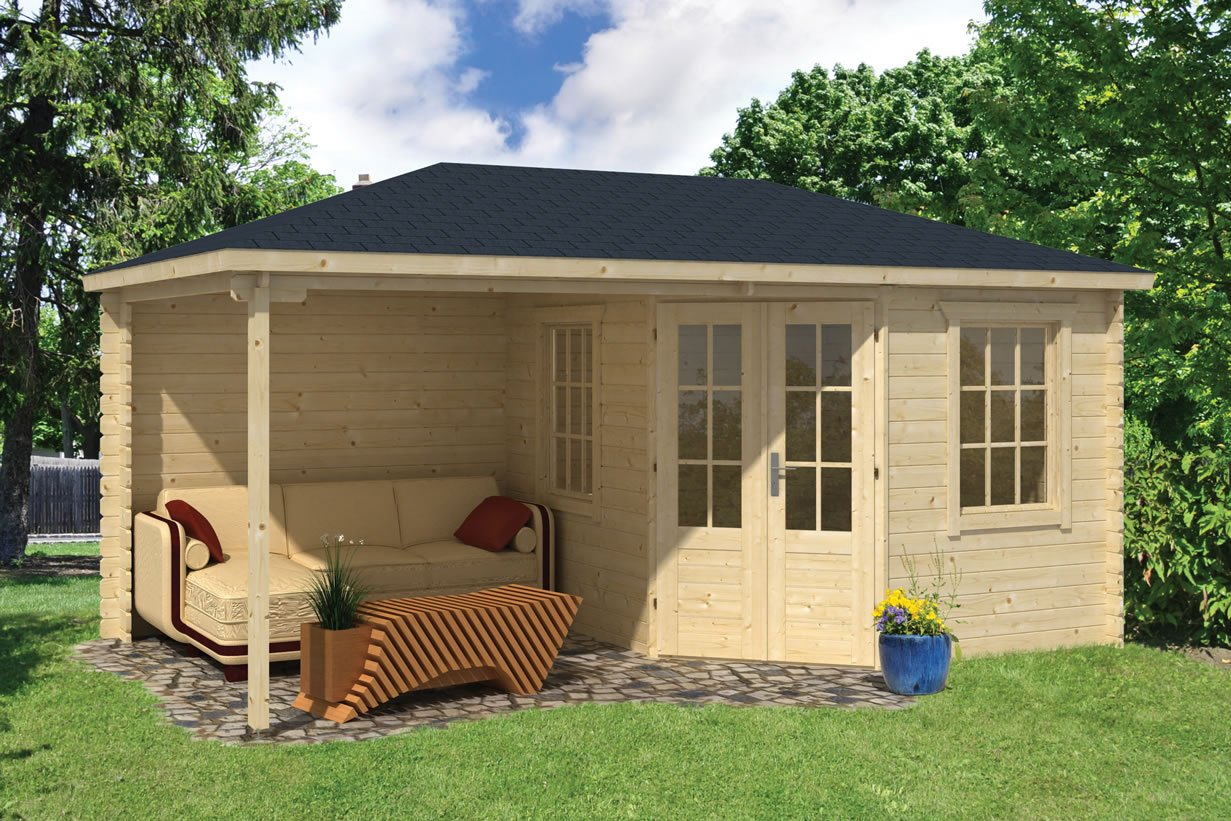 kennet corner log cabin with a side porch area in 28mm logs
