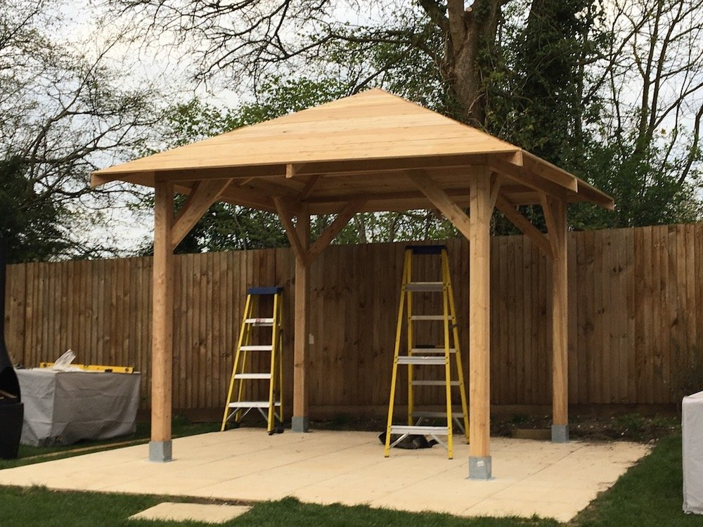 Kos larch gazebo prior to the roof shingles being fitted.