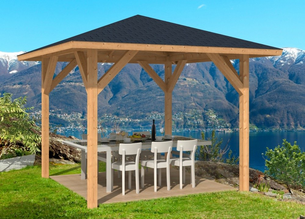 kos larch timber gazebo. Black Bedroom Furniture Sets. Home Design Ideas