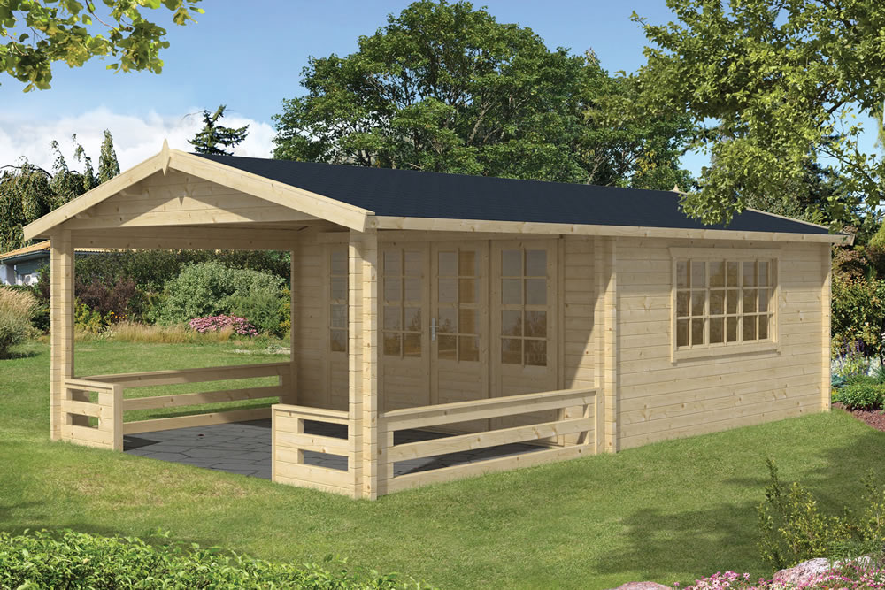 Leeds 58mm log cabin with a large veranda