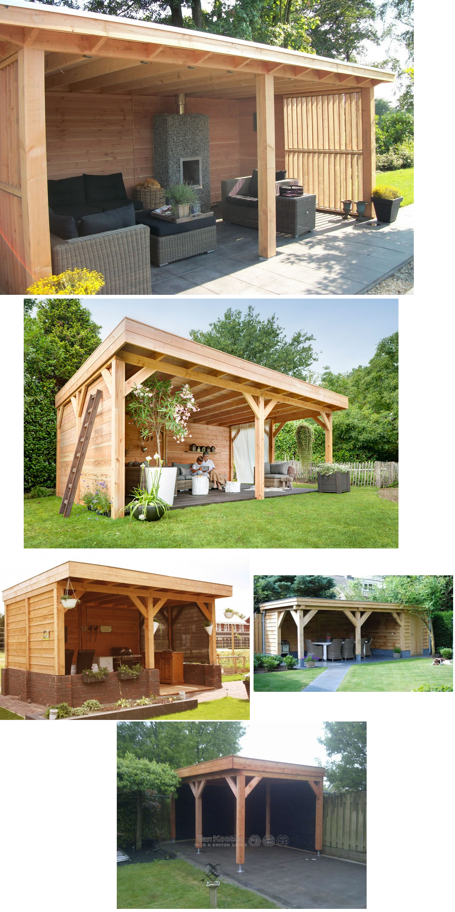Examples of pent style larch frame and clad garden buildings