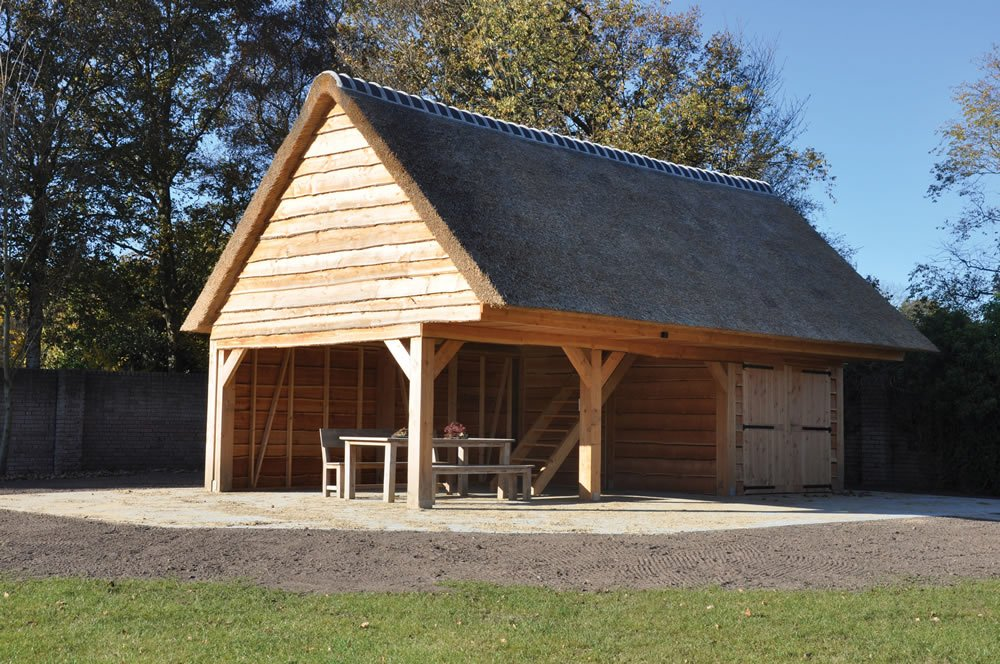Natural larch cladding barn