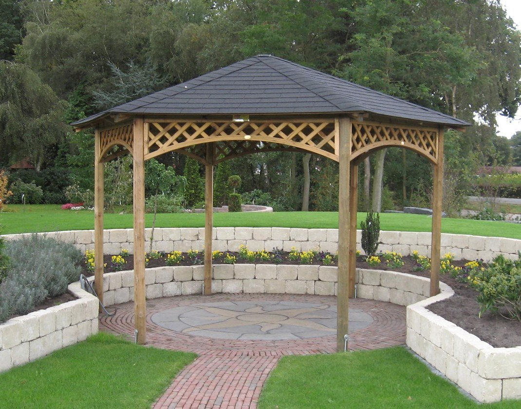 Large hexagonal gazebo 4m diameter for Garden gazebo designs plans