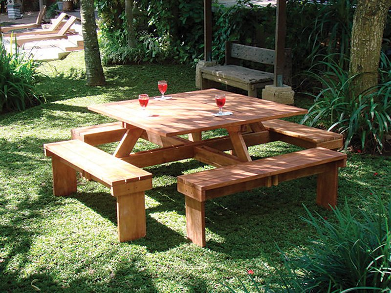 Large Hardwood square picnic table