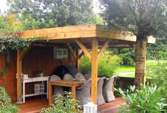 Large modern timber gazebo with a flat roof