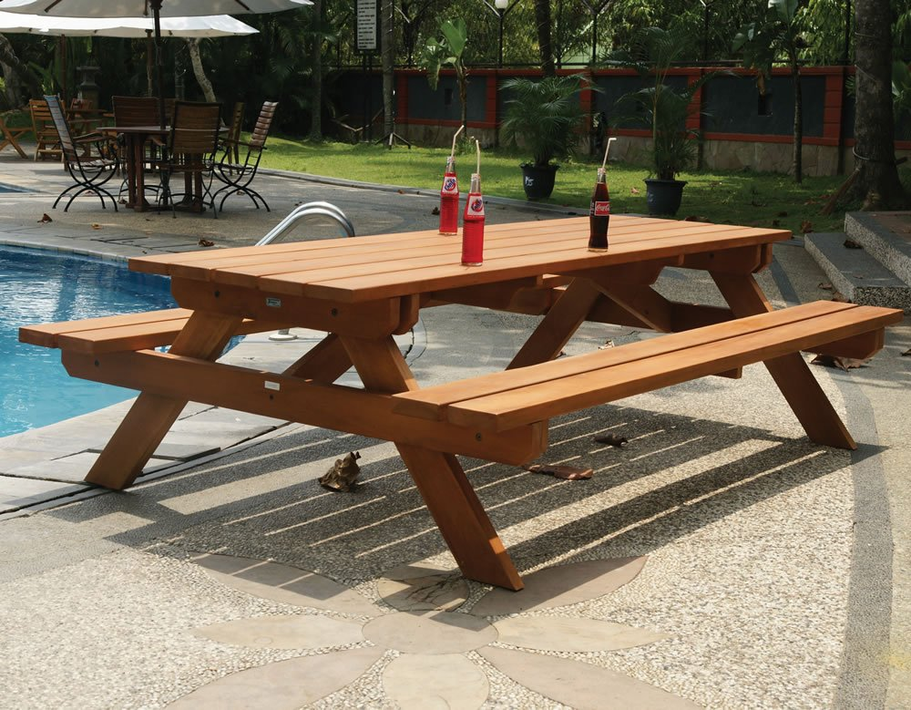 Large Hardwood Picnic Table Bench Set
