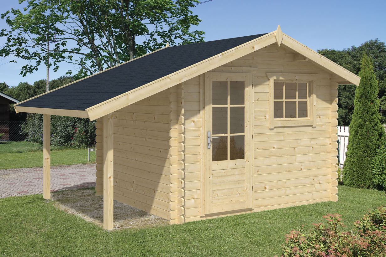 Lars 28mm log cabin with side canopy