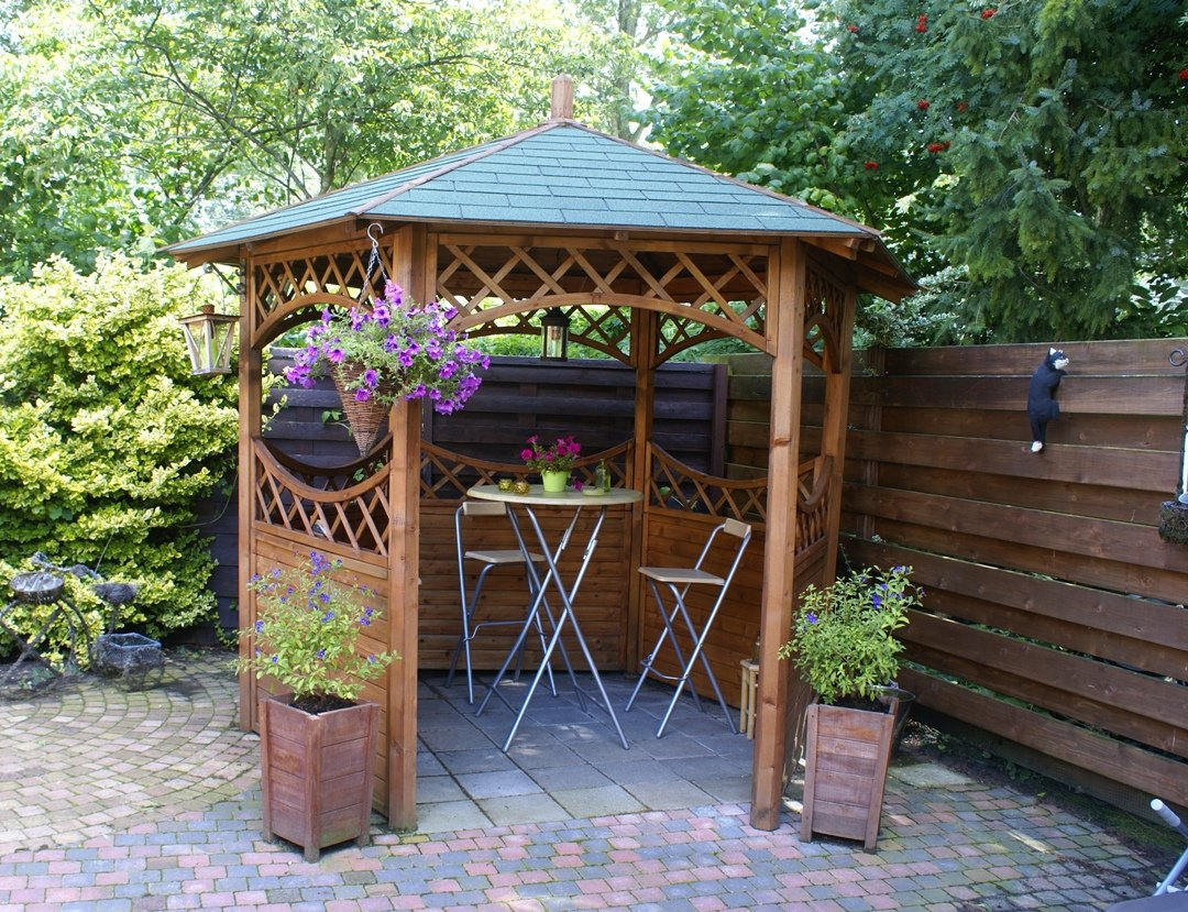 Curved lattice gazebo diameter for Garden design kits