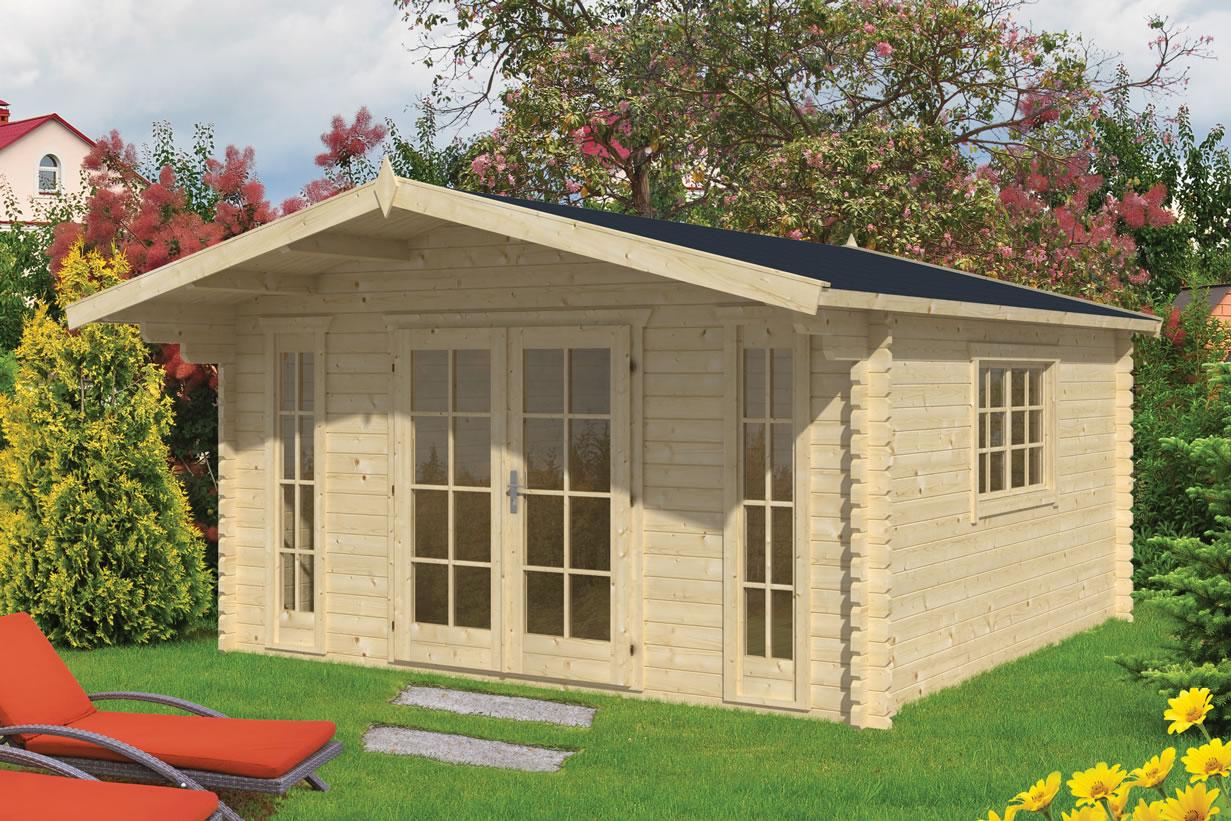 Laula 45mm log cabin Double Glazed - STRAIGHT cut logs