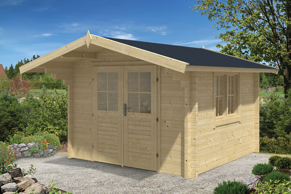 Lennart log cabin, ideal for a garden office - double glazed and 58mm