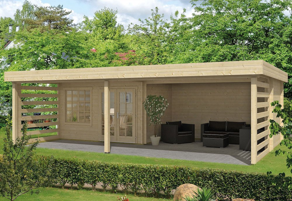 Lilou log cabin with side gazebo and recessed cabin