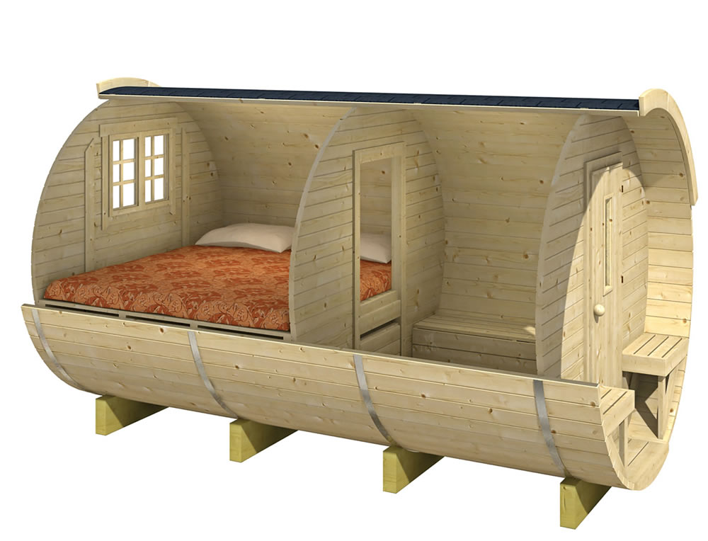 Log cabin barrel camping pod