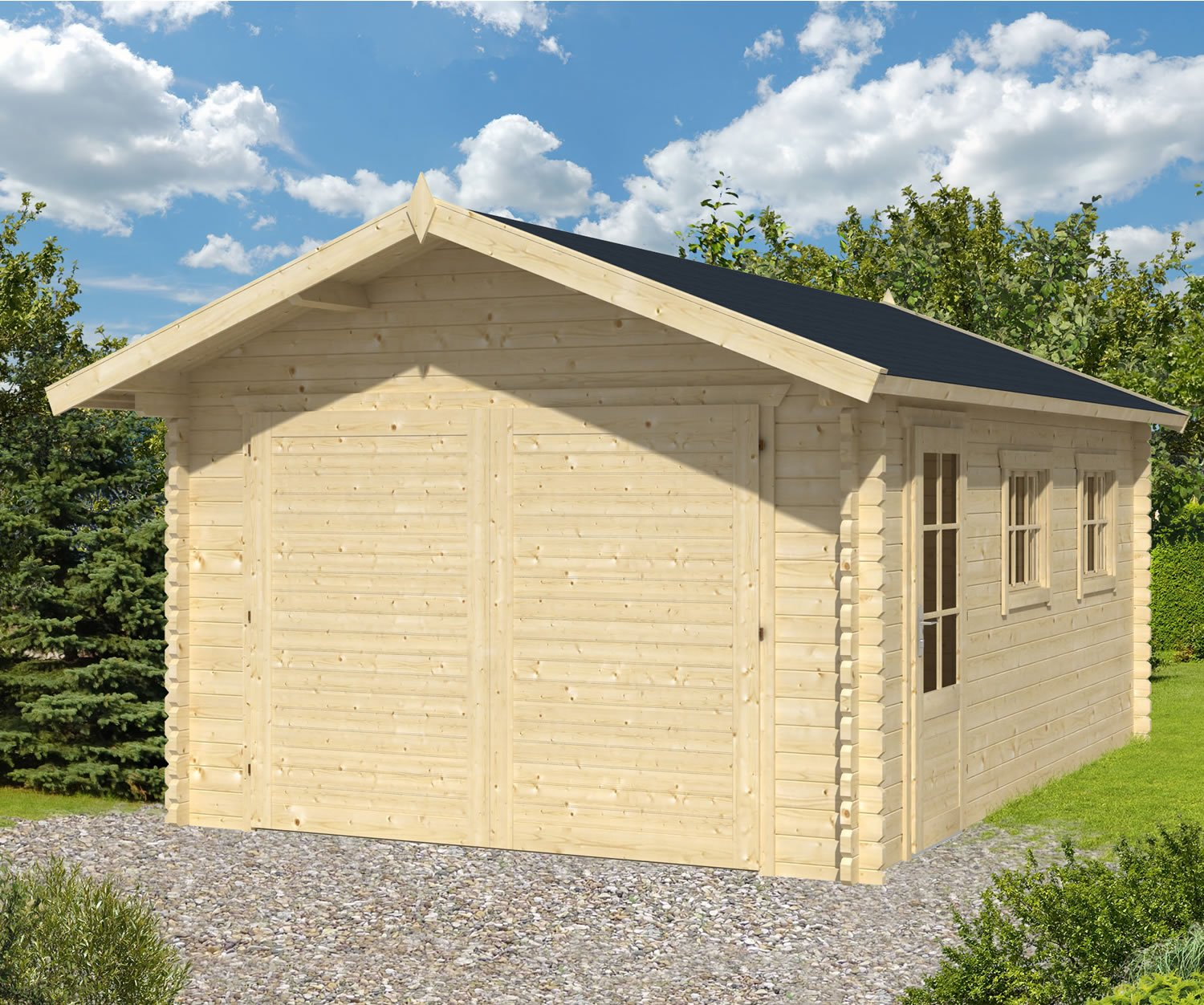 45mm log cabin garage geir for Log cabin garage