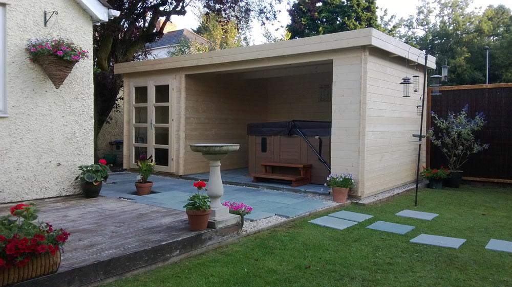 Mega modern log cabin gazebo