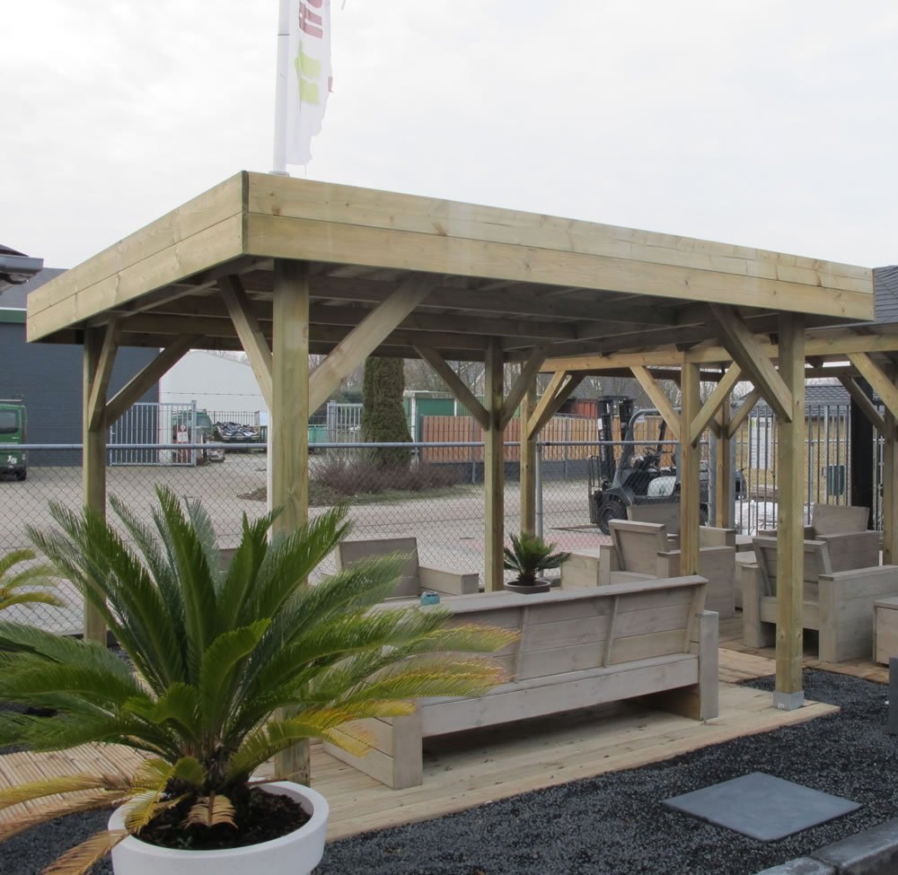 Medium modern, flat roof gazebo