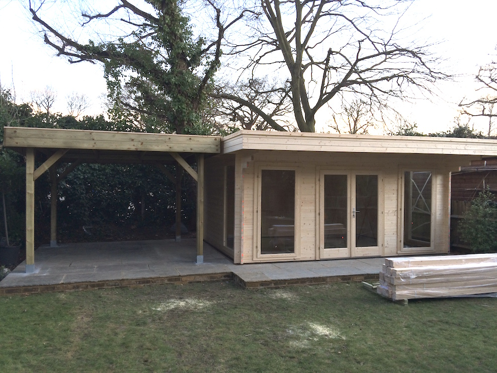 Medium Modern Gazebo with our Yorick Log Cabin