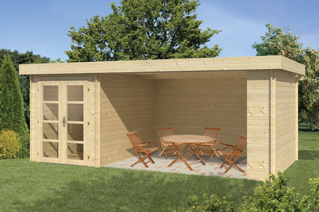 modern log cabin with side porch in 28mm wall logs