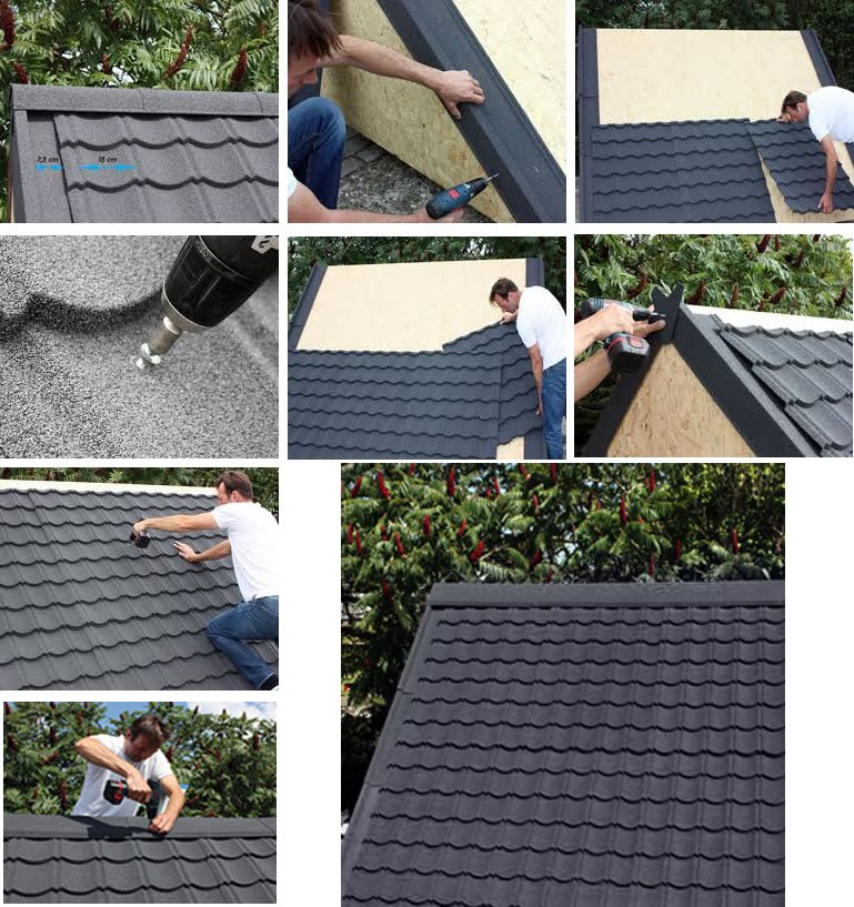 Metal roof tiles installation