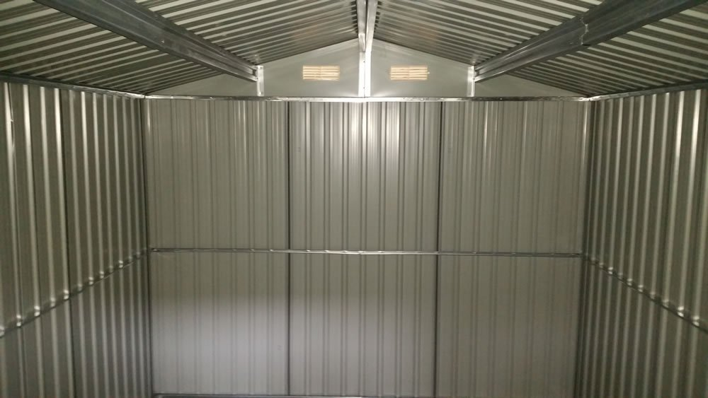 Inside one of our metal sheds with extensive framing