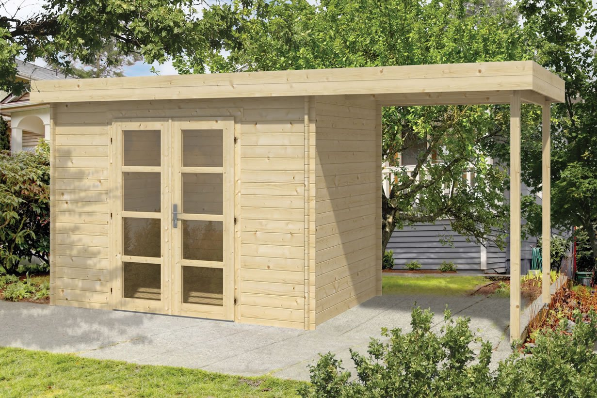 Middle Modern 28mm flat roof log cabin