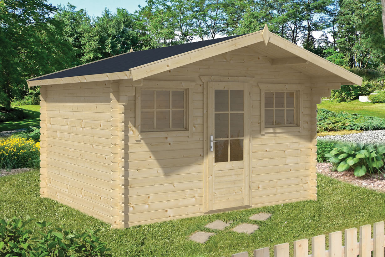 Mika 28mm log cabin, single door and two opening windows