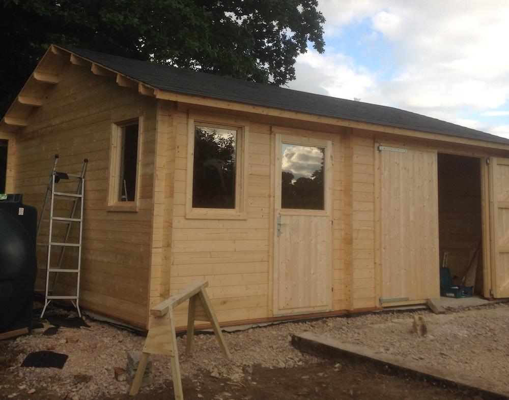 Moa 45mm log cabin garage 5x6m for Garage cabins