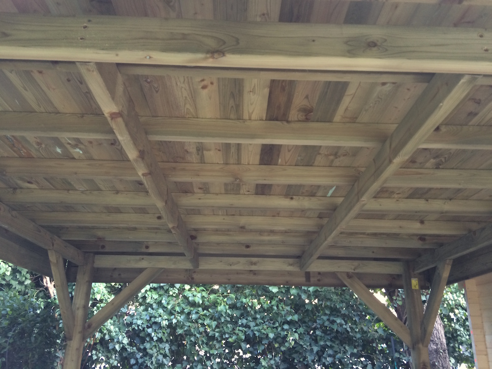 Modern timber gazebo roof
