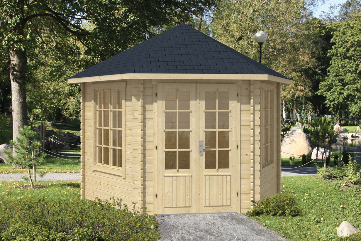 Nora hexagonal log cabin in 34mm wall logs