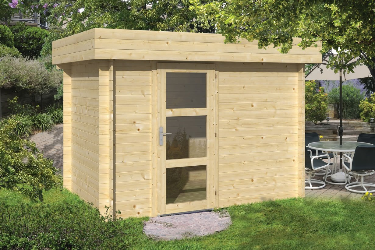 Novalie 19mm flat roof modern log cabin