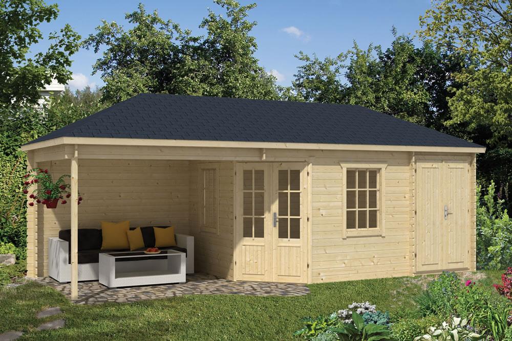 olson corner log cabin with gazebo and shed. Black Bedroom Furniture Sets. Home Design Ideas