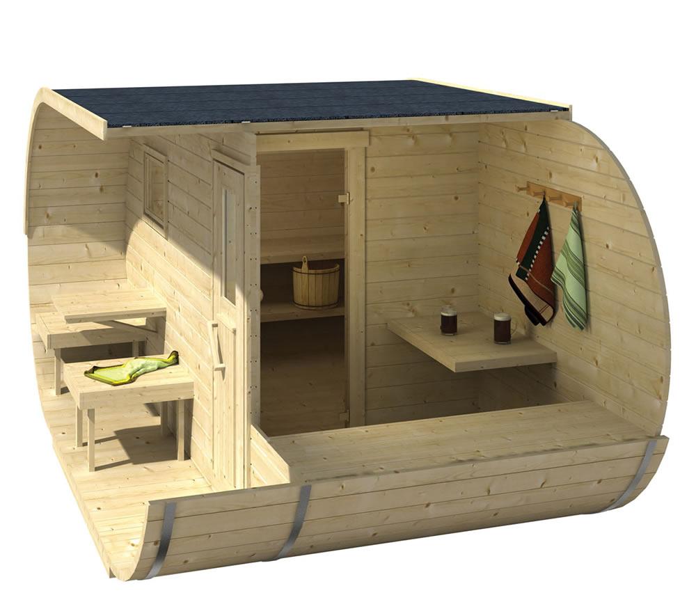 Oval sauna inside view