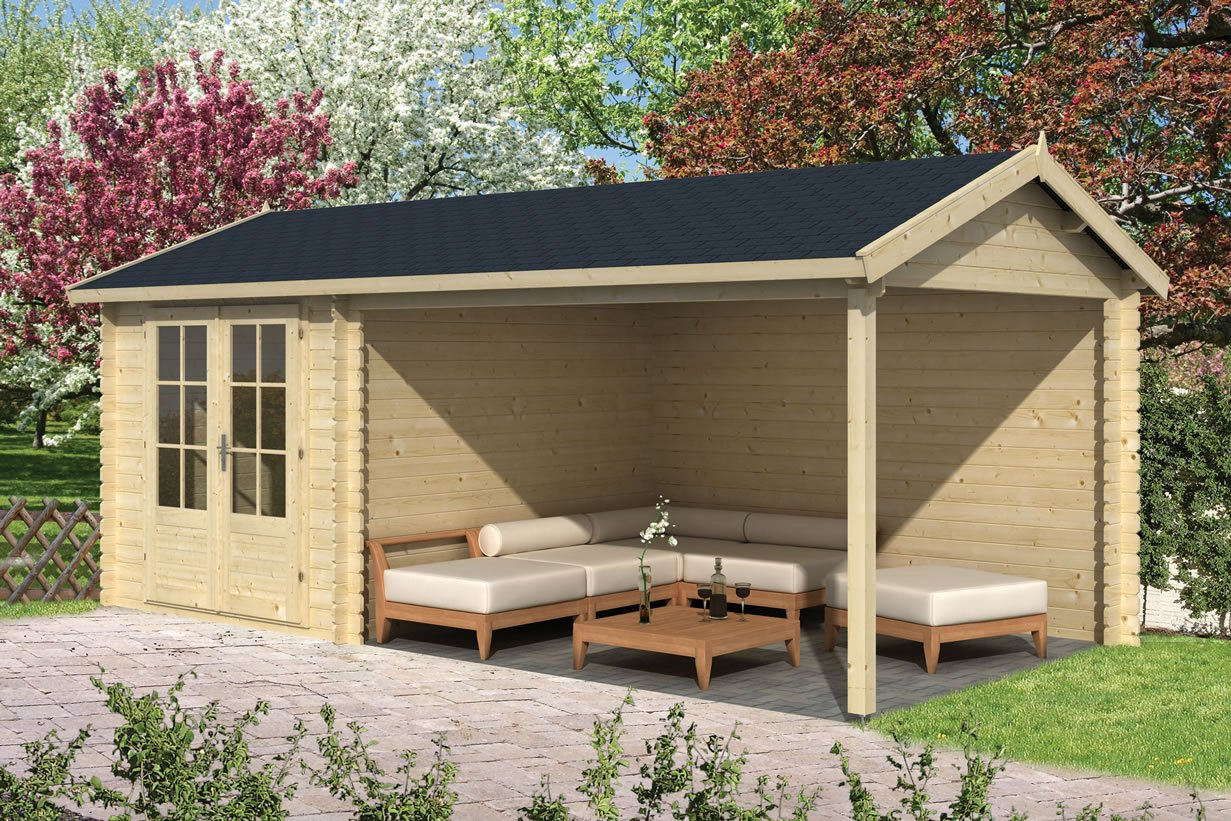Ove log cabin with side gazebo