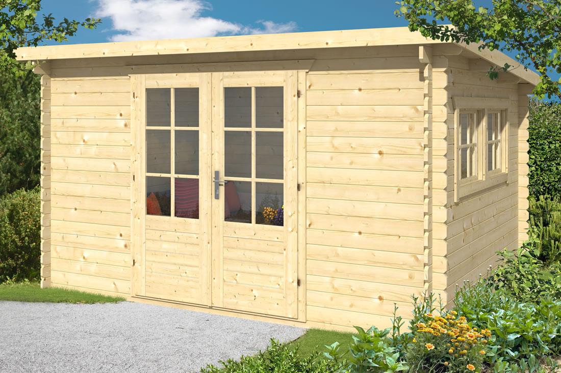 Loya roof log cabin measuring 3.8 x 3m