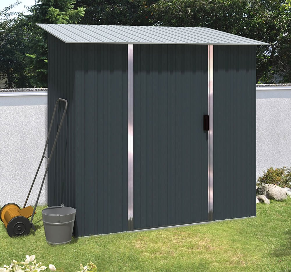 Pent metal shed