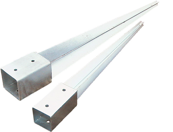 Galvanised post holder for soft ground.