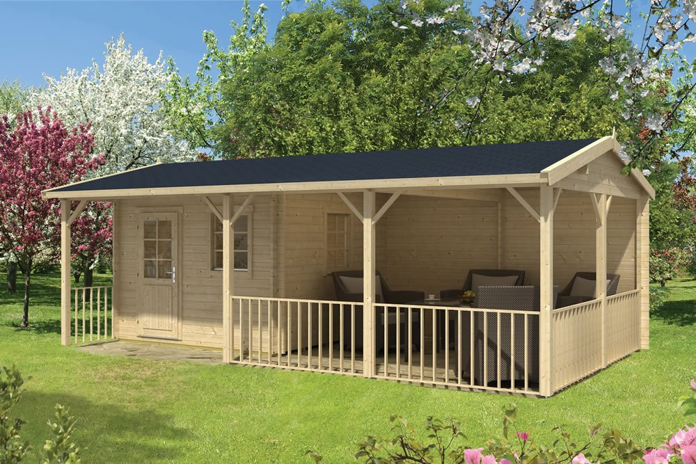 Ragna log cabin in 40mm logs with gazebo area