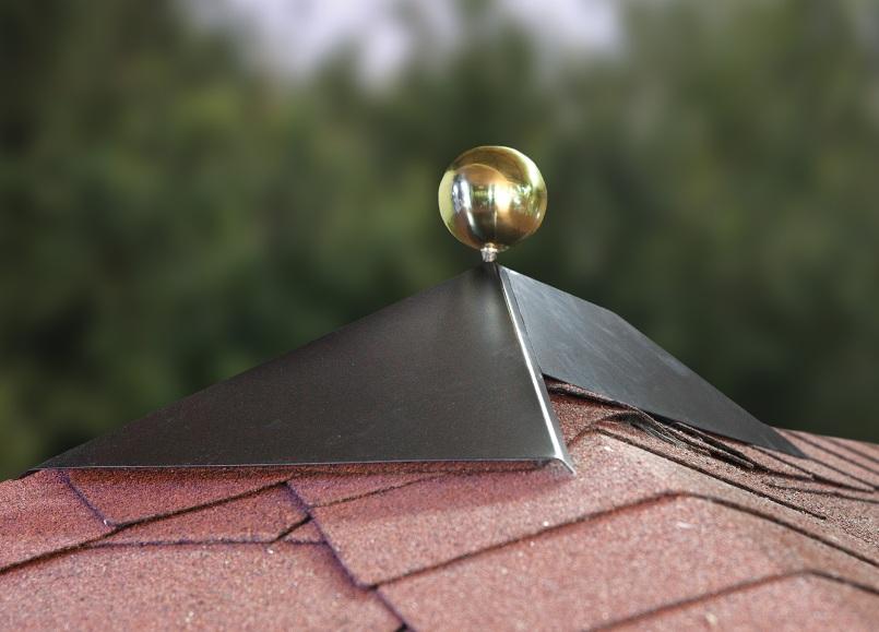 Rectangular roof finial with optional brass ball