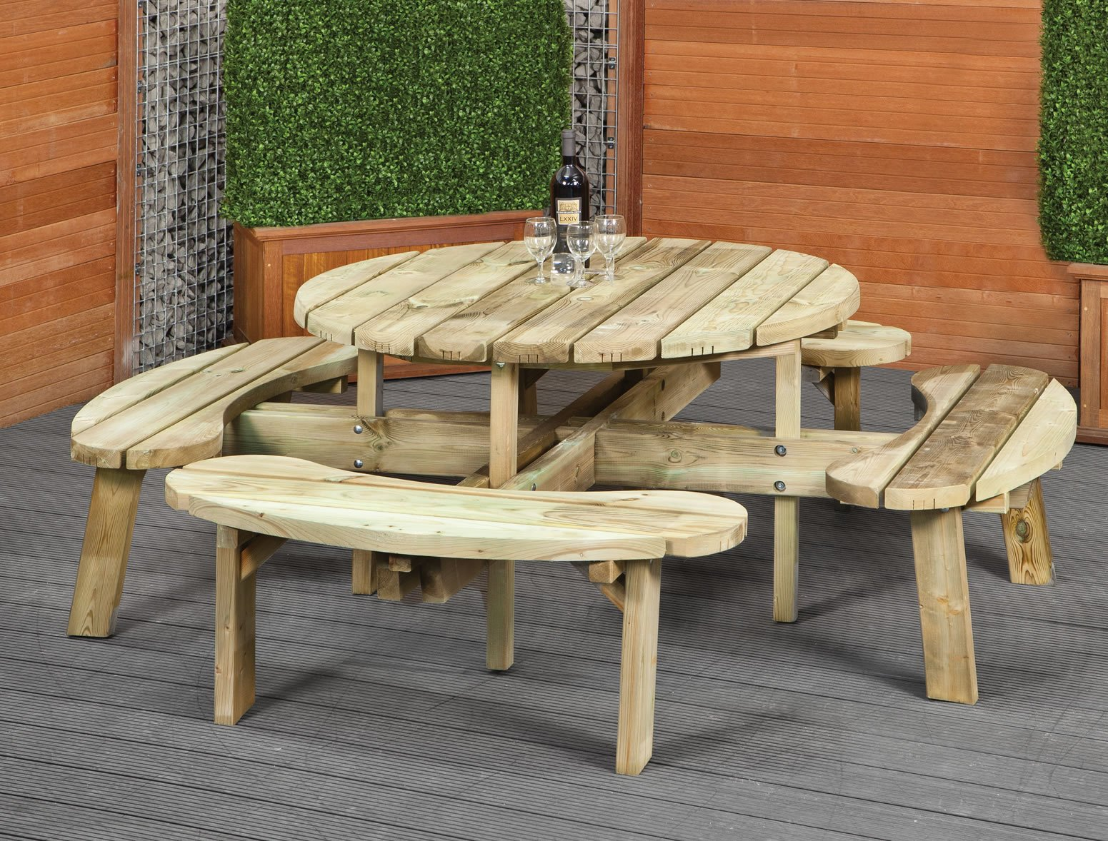 round picnic bench. Black Bedroom Furniture Sets. Home Design Ideas
