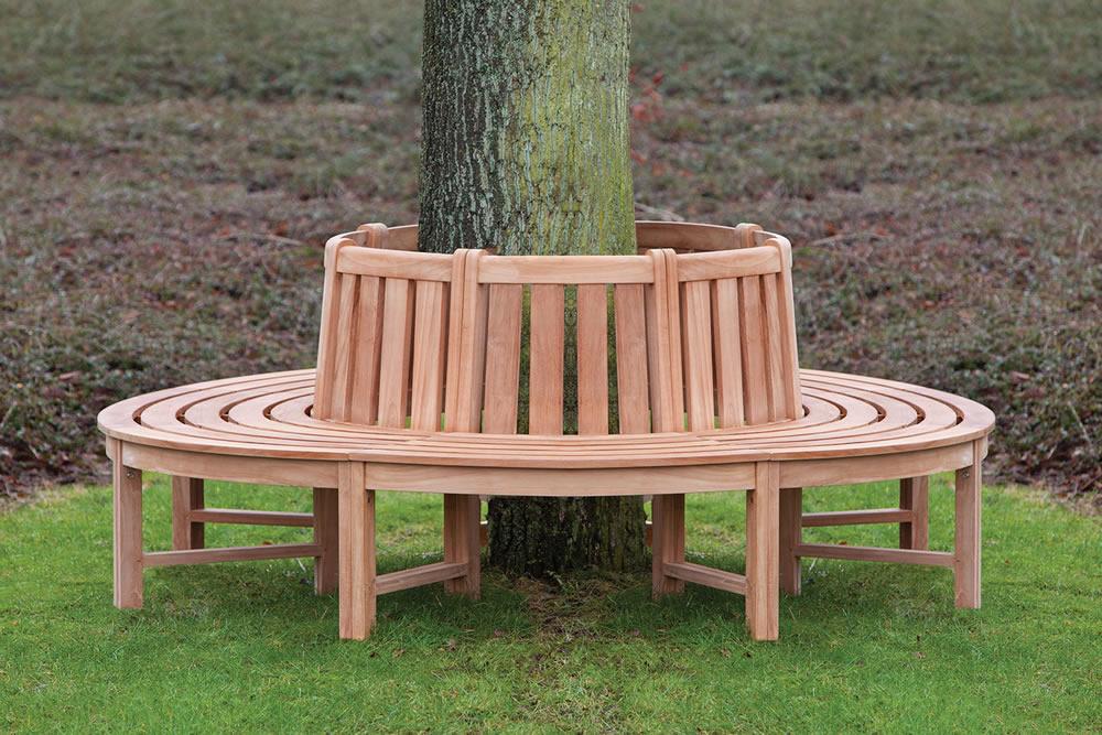 Teak tree seat Circular tree bench