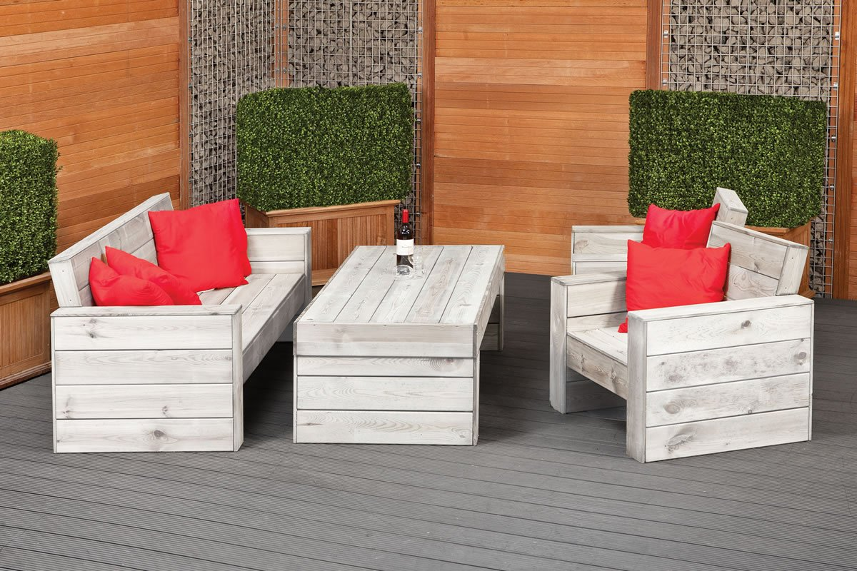 Rustic garden lounge set furniture set for Lounge garden furniture sets