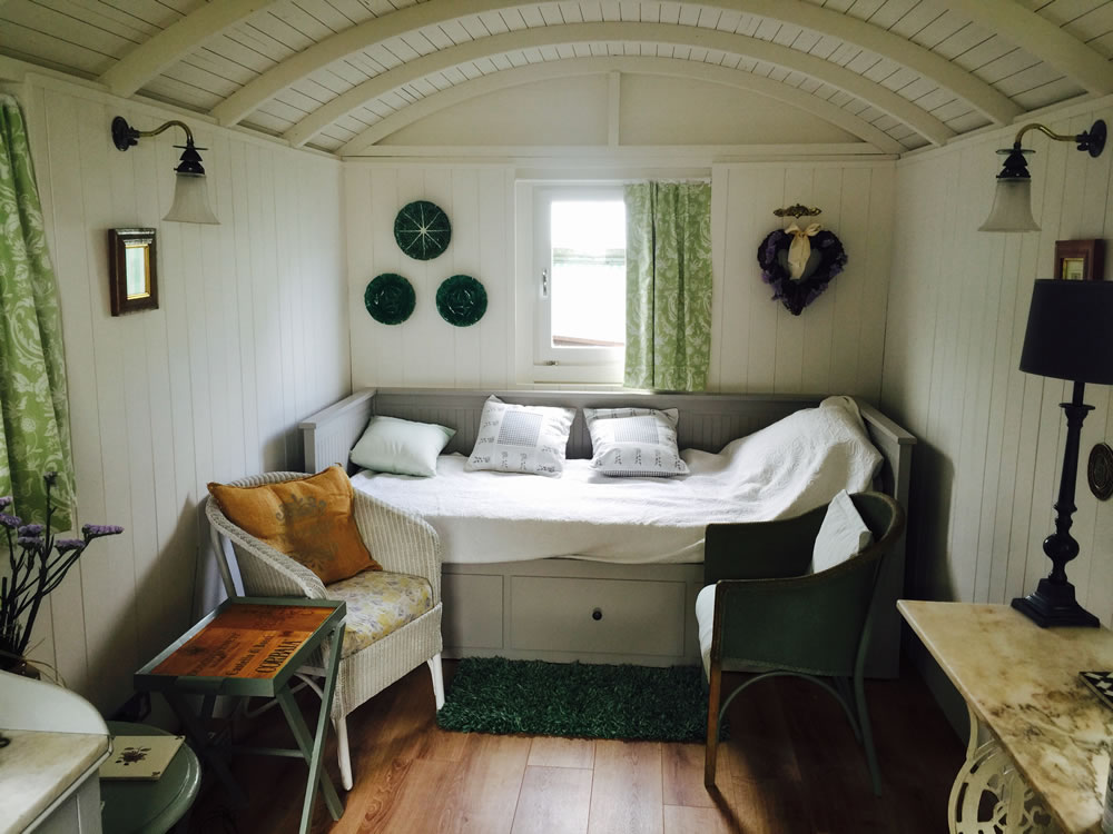Inside a finished shepherd hut
