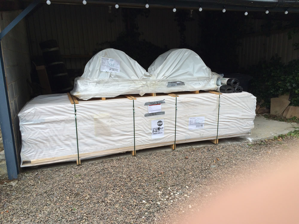 Shepherd hut packages as they arrive